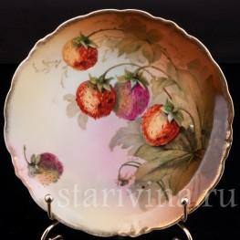 Декоративная фарфоровая тарелка Земляника, Porzellanfabrik Marktredwitz, Jaeger & Co., Германия, 1872-1898 гг.